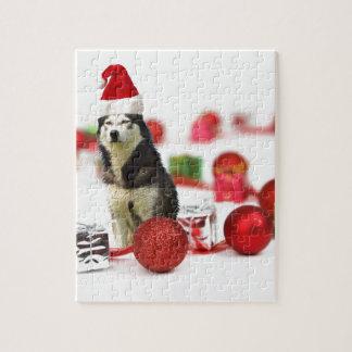 Sibirischer Schlittenhund-Weihnachten mit Puzzle