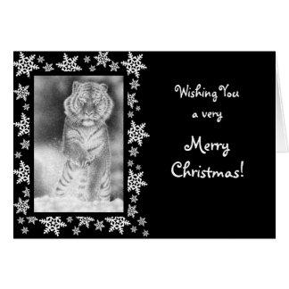 Sibirischer Tiger-Weihnachtskarte Karte