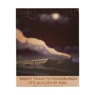 Sich fortbewegendes Reiseplakat Edinburghs Holzdruck
