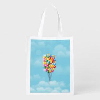 Sich hin- und herbewegende Ballone oben und weg Wiederverwendbare Einkaufstasche
