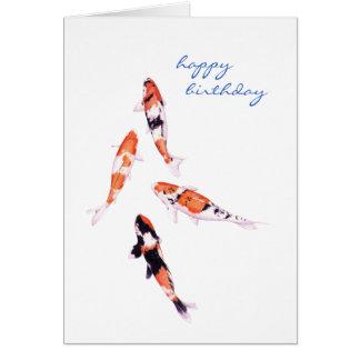 Sich hin- und herbewegende Koi Geburtstags-Karte Grußkarte