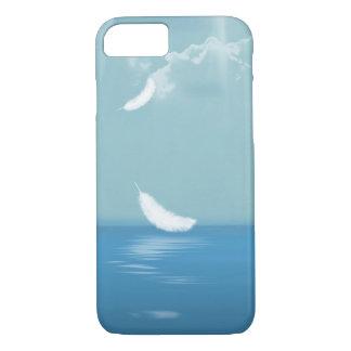 sich hin- und herbewegende weiße Feder über Ozean iPhone 8/7 Hülle