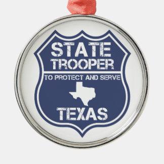 Sich zu schützen und zu dienen Texas-StaatTrooper Silbernes Ornament