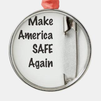 Sicherheits-Button Rundes Silberfarbenes Ornament