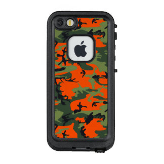 Sicherheits-Flammen-orange und grüne Camouflage LifeProof FRÄ' iPhone SE/5/5s Hülle