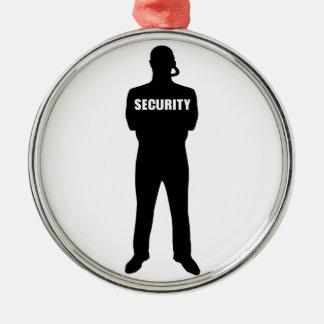 Sicherheitsbeamte Rundes Silberfarbenes Ornament