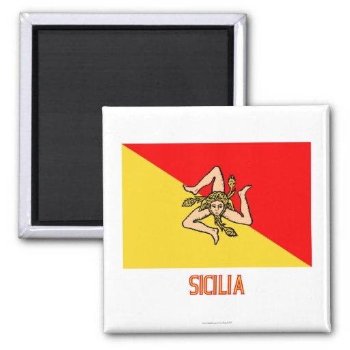 Sicilia Flagge mit Namen Magnets