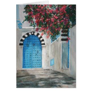 Sidi Bou blaue Tür Boganvila Karte
