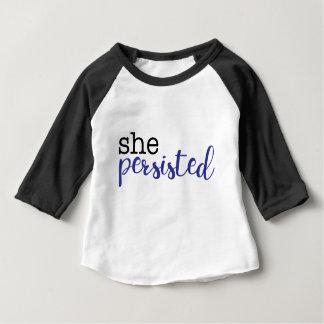 Sie bestand fort (Schwarzes/Blau) Baby T-shirt