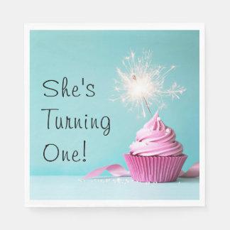 Sie dreht ein! Servietten - rosa Kuchen-Thema