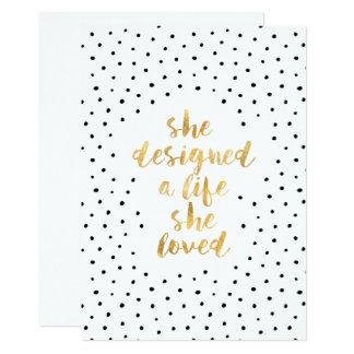 Sie entwarf ein Leben, das sie mit Imitatgoldfolie Karte