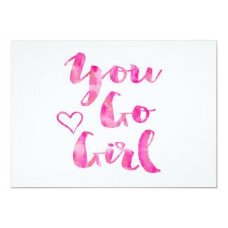 Sie gehen Mädchen-Aquarell-inspirierend Zitat 12,7 X 17,8 Cm Einladungskarte