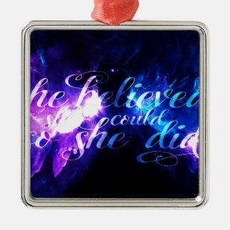 Sie glaubte an Anzeige Amorem Amisi Silbernes Ornament
