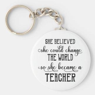 Sie glaubte, dass sie den Weltlehrer ändern könnte Schlüsselanhänger