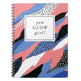 Sie glühen Mädchen-motivierend Notizbuch Spiral Notizblock