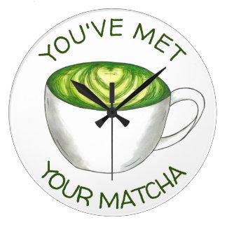 Sie haben Ihre Match Matcha grüner Tee Latte Liebe Große Wanduhr