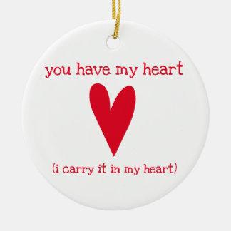 Sie haben mein Herz   Gedicht durch E.E. Cummings Keramik Ornament
