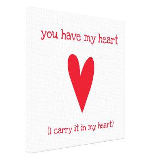 Sie haben mein Herz | Gedicht durch E.E. Cummings Leinwanddruck