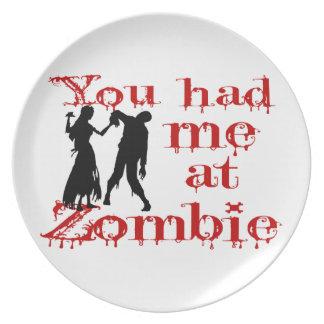 Sie hatten mich am Zombie Melaminteller