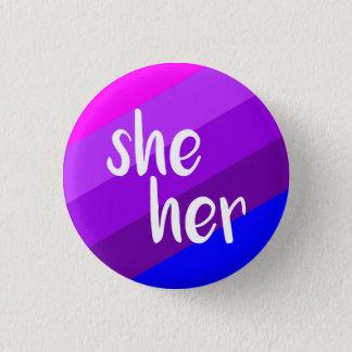 Sie/ihr Pronomen-Abzeichen Runder Button 2,5 Cm