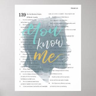 Sie kennen mich, Psalm 139, männliche Silhouette Poster