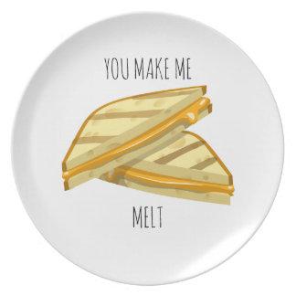 Sie lassen mich gegrillte Käse Valentinsgrußplatte Melaminteller