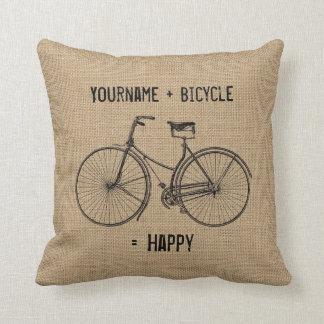 Sie plus Fahrrad entsprechen glücklichem Kissen