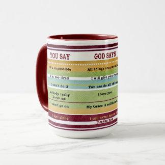 """""""Sie sagen,/Gott sagen"""" inspirierend Bibel-Verse Tasse"""