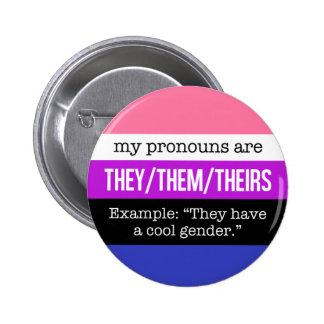 Sie/sie Pronomina - Genderfluid Flagge Runder Button 5,7 Cm