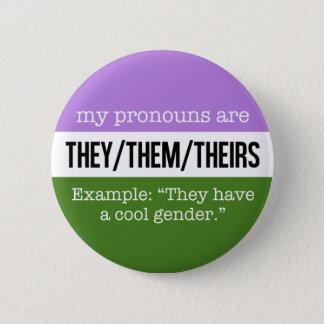 Sie/sie Pronomina - Genderqueer Flagge Runder Button 5,7 Cm