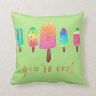 Sie sind das coole 5 Popsicles-Grün Kissen