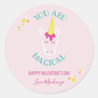 Sie sind magischer Unicorn-Valentinstag Runder Aufkleber