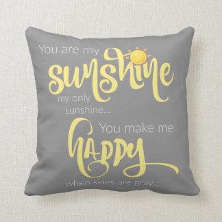 Sie sind mein Sonnenschein; Gelb auf Grau, mit Kissen