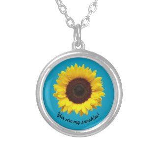 Sie sind mein Sonnenschein! Sonnenblumehalskette Versilberte Kette