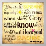 Sie sind mein Sonnenschein-Wort-Kunst-Vintager Posterdrucke
