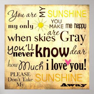 Sie sind mein Sonnenschein-Wort-Kunst-Vintager Poster