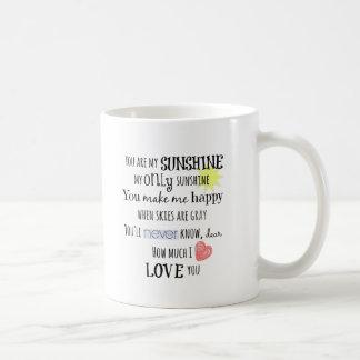 Sie sind meine Sonnenschein-Wort-Kunst-Typografie Tasse