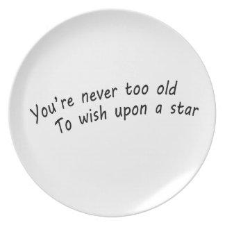 Sie sind nie zu alt, nach einem Stern zu wünschen Melaminteller