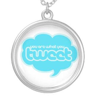 Sie sind, was Sie tweeten Halskette Mit Rundem Anhänger