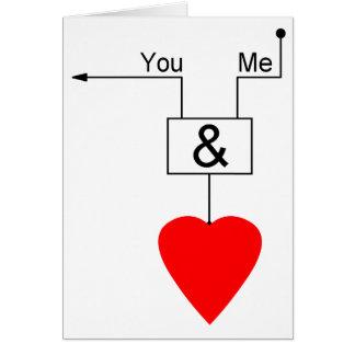Sie und ich Liebe-Nerd-Ausgaben-Digital-Logik Karte