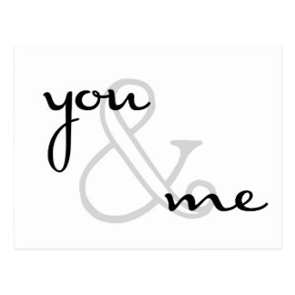 Sie und ich moderne Schwarz-weiße Entwurfs-Liebe Postkarte