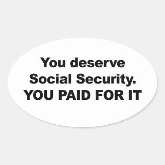 Sie verdienen Sozialversicherung Ovaler Aufkleber