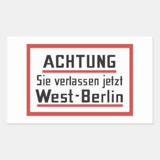 Sie verlassen jetzt Westberlin, Deutschland Rechteckiger Aufkleber