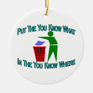 Sie wissen, was Sie wo Abfalleimer wissen Keramik Ornament