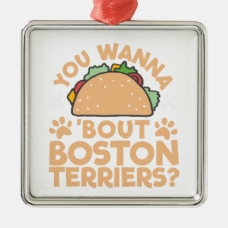 Sie wollen zu Taco-Kampf-Boston-Terriern? Silbernes Ornament
