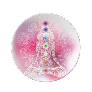 Sieben Chakras rosa Dame Porzellanteller