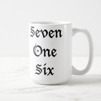 Sieben eine sechs kaffeetasse
