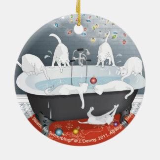 Sieben Fliegenklatsche, keine Schwimmen! Doppeltes Rundes Keramik Ornament