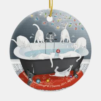 Sieben Fliegenklatsche, keine Schwimmen! Rundes Keramik Ornament