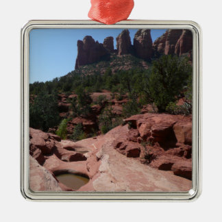 Sieben heilige Pools in Sedona Arizona Quadratisches Silberfarbenes Ornament